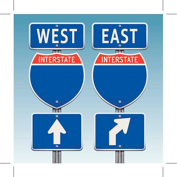 USA la interestatal señalizaciones hacia el este y oeste - ilustración de arte vectorial