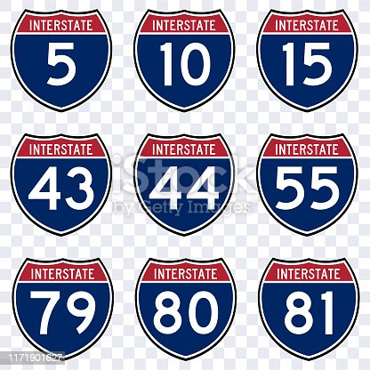 interstate route sign american highway vector isolated, traffic road transportation sign USA