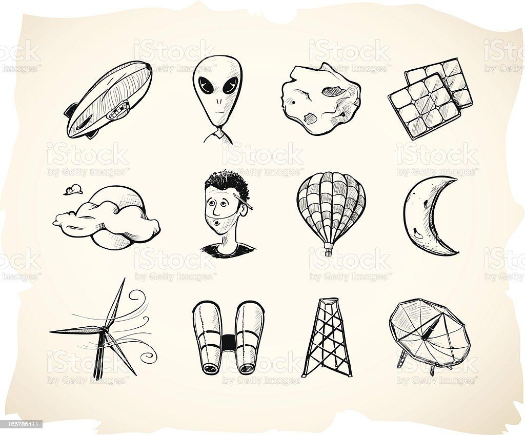 Interstellar Sketch Icons 2 royalty-free stock vector art