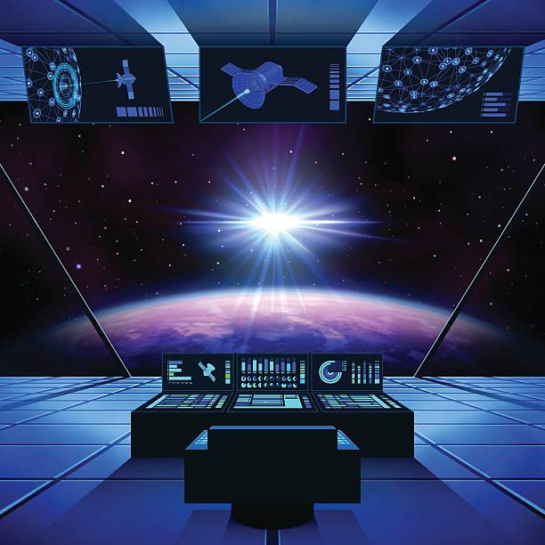 Interstellar Travel in a Spaceship vector art illustration