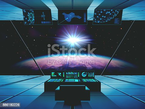 istock Interstellar Travel in a Spaceship 886180226