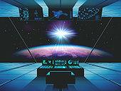 Interstellar travel in a spaceship. Vector illustration.