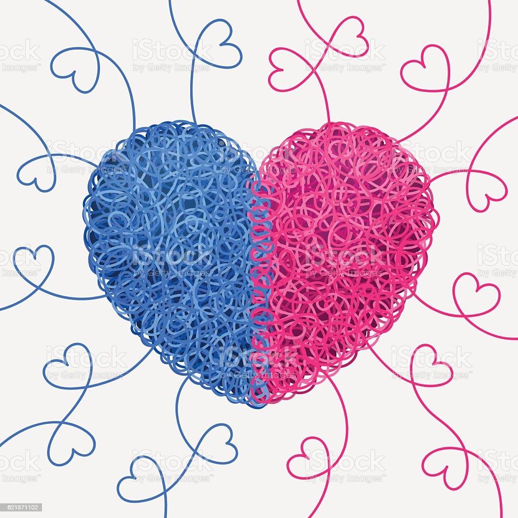 Intertwined blue-and-pink heart intertwined blueandpink heart – cliparts vectoriels et plus d'images de amour libre de droits
