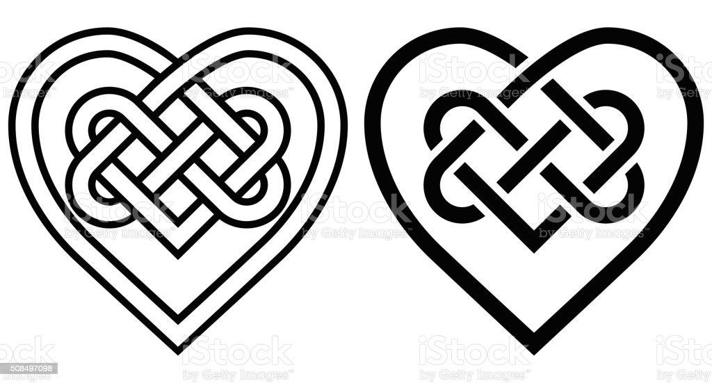 Ineinander Verschlungen Herz In Keltische Knoten Stock Vektor Art
