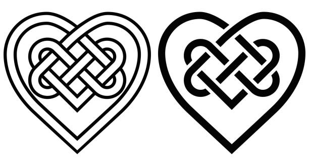 Intertwined Heart in Celtic Knot Intertwined Heart in Celtic Knot. Two Variants celtic knot stock illustrations