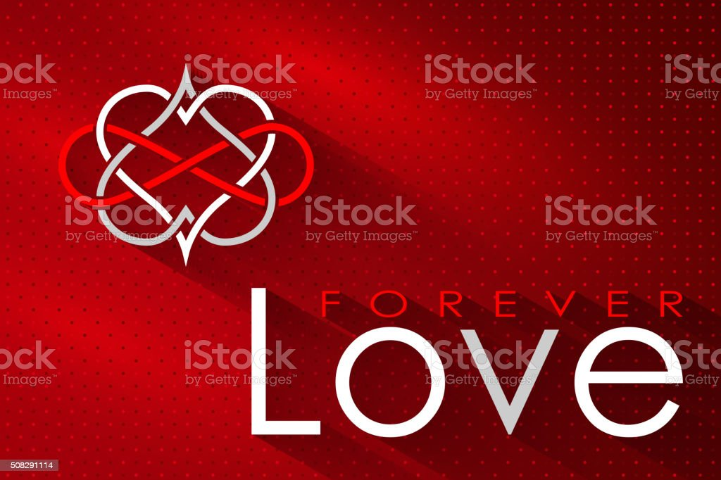 Intertwined Hearts.  Love Forever vector art illustration