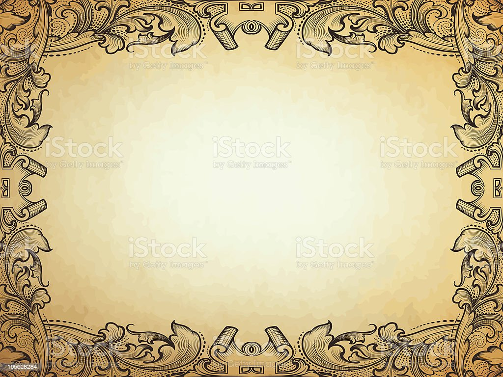Intertwining Parchment Frame scrollwork border royalty-free stock vector art