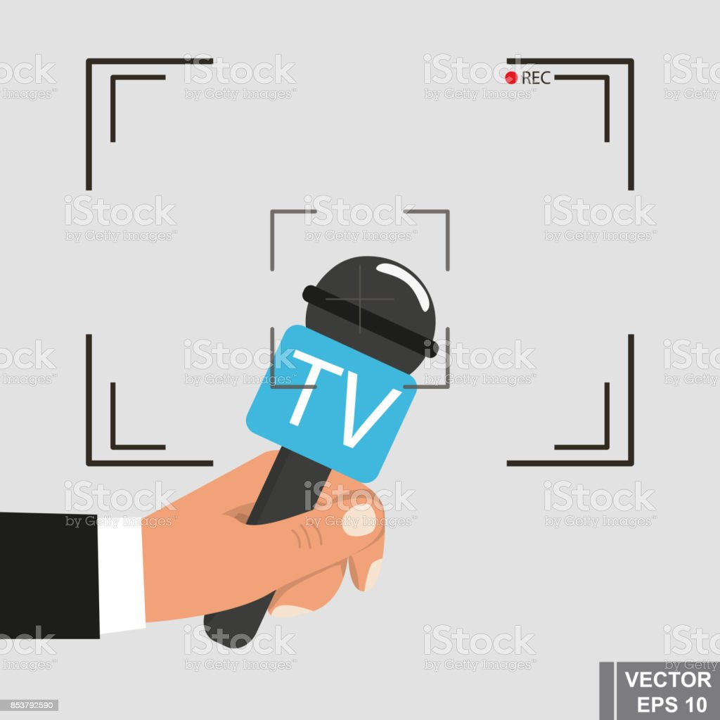 Interview. Camera. frame. Microphone. News. For your design vector art illustration