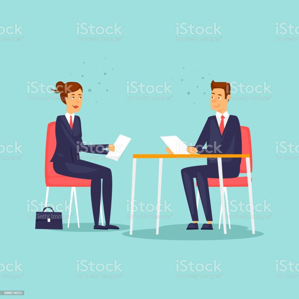 Interview für einen neuen Job. Flaches Design-Vektor-Illustration. – Vektorgrafik