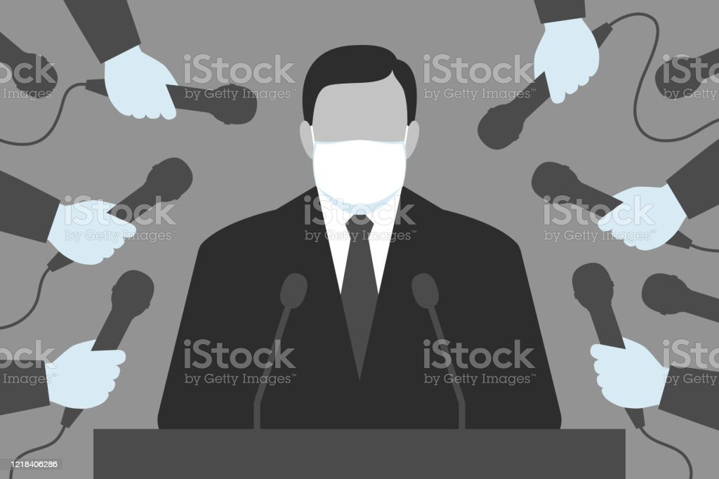 Interview for the media during viral pandemic Man wearing medical mask is standing behind tribune, medical-gloved hands of reporters are holding microphones. Interview for the media during viral pandemic, using personal protective equipment Adult stock vector