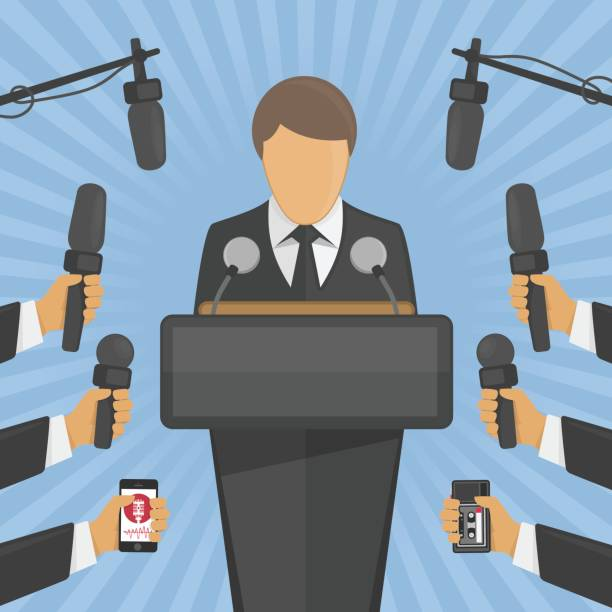 illustrations, cliparts, dessins animés et icônes de concept d'entrevue de conférence de presse. - interview
