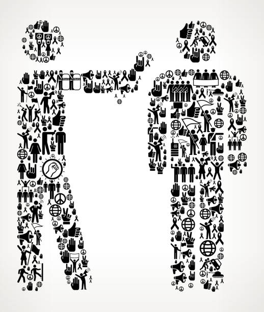 Interview  Protest and Civil Rights Vector Icon Background Interview  Protest and Civil Rights Vector Icon Background. This protest and civil rights illustration is created with numerous black social equality icons that form a seamless vector pattern. All the icons are relevant to the civil rights, protest and demonstrations. They form the main object of the composition on a background with a slight gradient. The icons vary in size and are detailed and can be used separately from the main illustration. They include such classic freedom symbols as the protest, flag, demonstration and many more. police interview stock illustrations