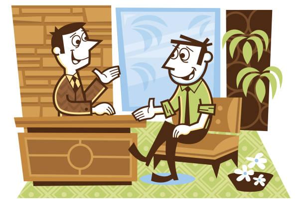 interview - peter bajohr stock illustrations