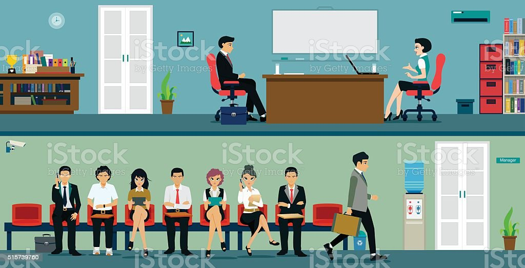 Interview vector art illustration