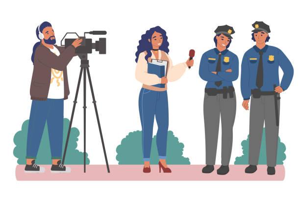illustrations, cliparts, dessins animés et icônes de entretien avec des policiers. journaliste féminin interviewant le policier et la policière, illustration plate de vecteur. - interview