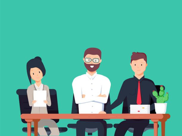 bildbanksillustrationer, clip art samt tecknat material och ikoner med intervjuare på jobbet ser allvarliga. uppsättning av olika människor. illustration om jobb för din design. - job interview