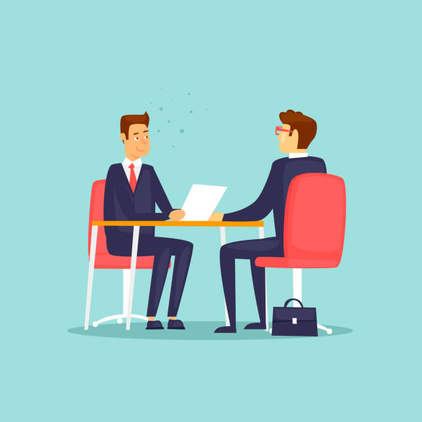 interviews, jobsuche. flaches design-vektor-illustration. - meeting stock-grafiken, -clipart, -cartoons und -symbole