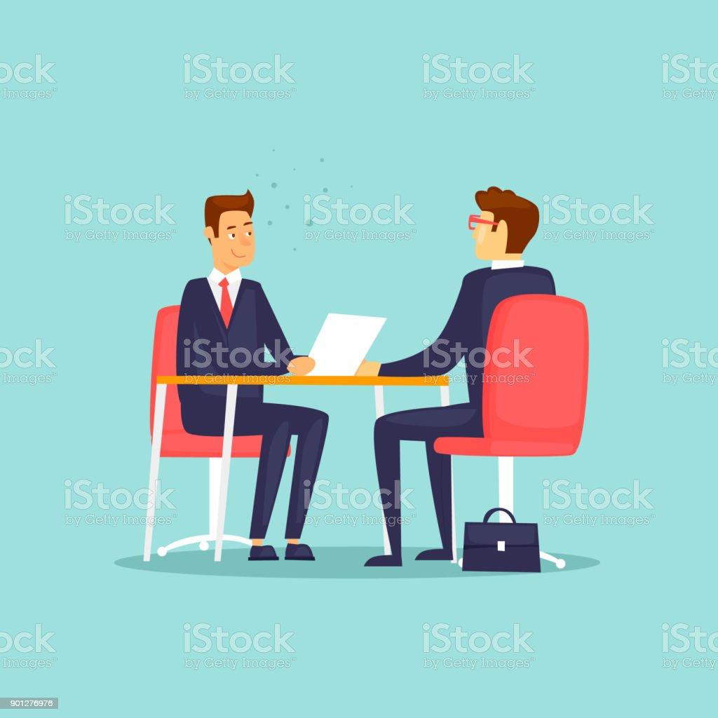 Interviews, Jobsuche. Flaches Design-Vektor-Illustration. – Vektorgrafik