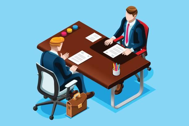 interviews mit job-suche - arbeitsvermittlung stock-grafiken, -clipart, -cartoons und -symbole