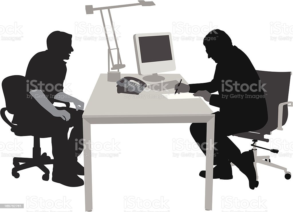 Interviewing Vector Silhouette royalty-free stock vector art