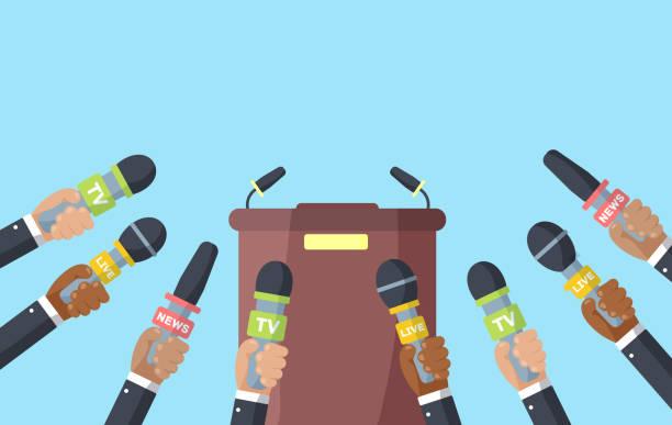 illustrations, cliparts, dessins animés et icônes de interviews, conférence de presse. - interview