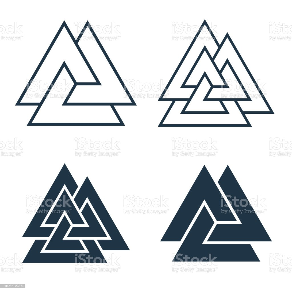 Interwoven Triangles Valknut Vector Illustration Collection
