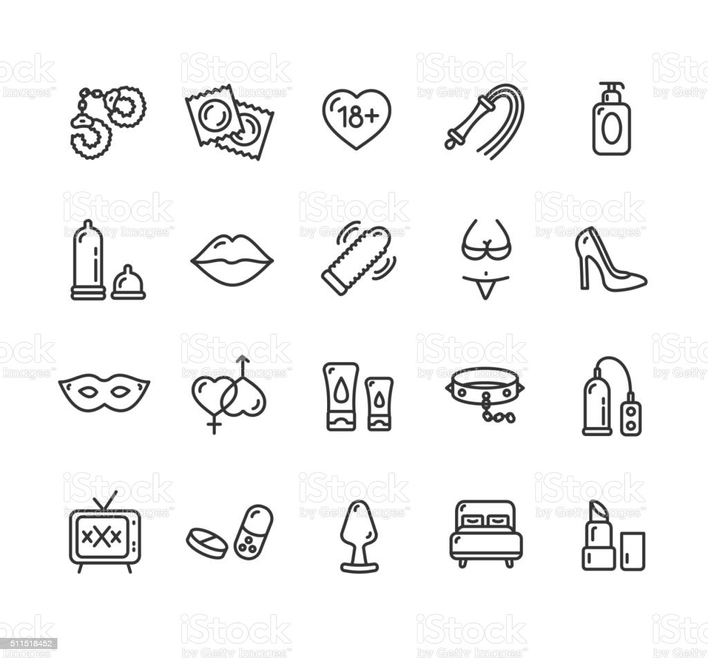 Intim or Sex Shop Icon Set. Vector vector art illustration