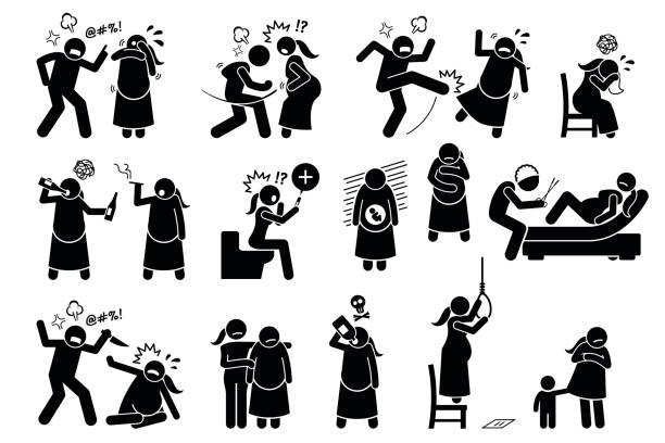 Intimate Violence During Pregnancy. vector art illustration