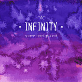 Into infinity, space background. Universe blue, violet, purple, magenta watercolor texture. Cosmos, galaxy hand painted illustration with dry brush strokes, stains, spots, splashes. Abstract vector frame.