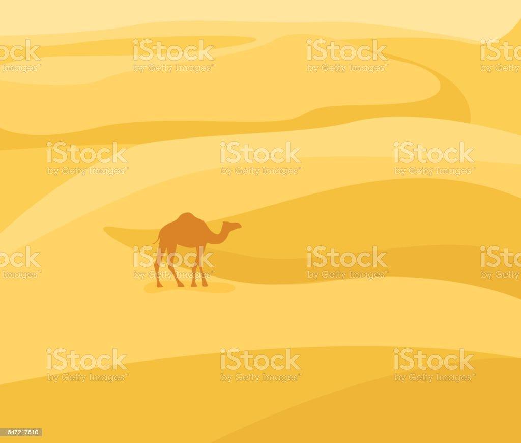 Into the desert: Desert landscape. Camel silhouette on sand background. Vector illustration in flat style. vector art illustration