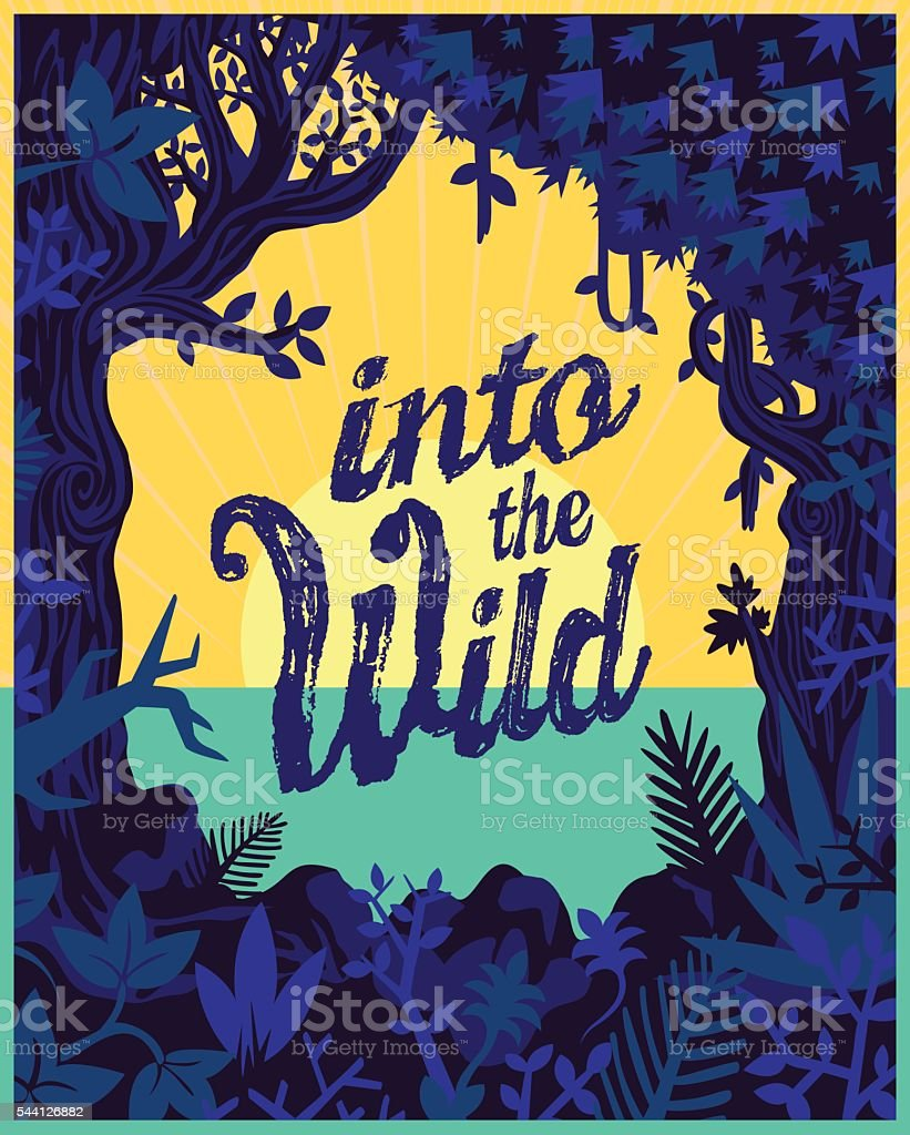 Into the wild, Jungle vegetation vector frame, nature travel illustration ベクターアートイラスト