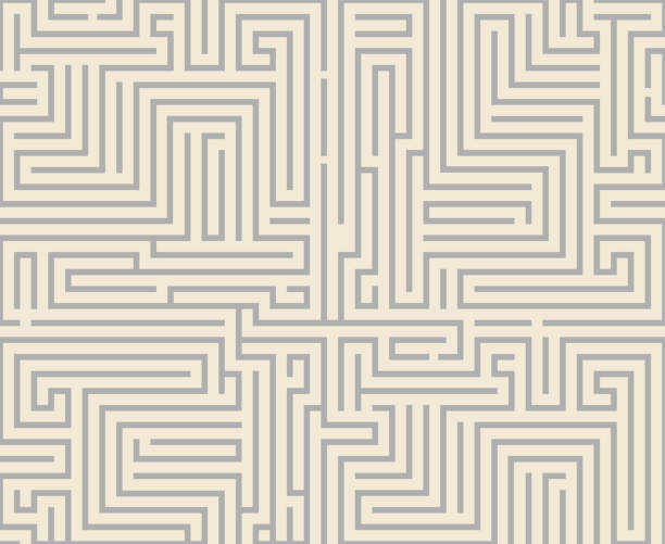 Intricacy Labyrinth Maze Seamless Pattern Background Design Template ...