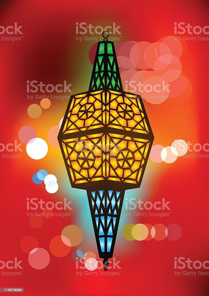 Intricate arabic lamp with beautiful blurred lights royalty-free stock vector art