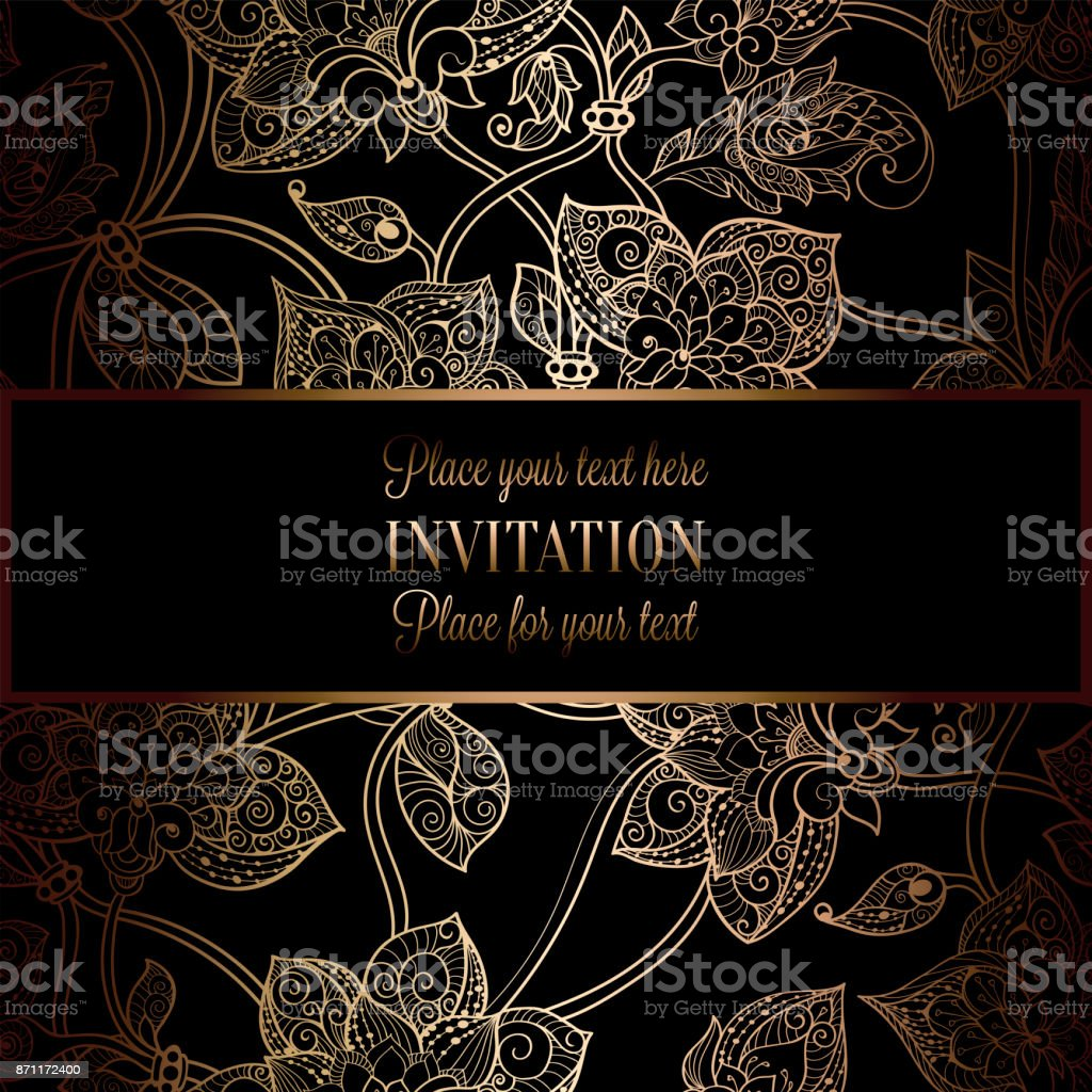 Intricate Background With Antique Luxury Black And Gold Vintage