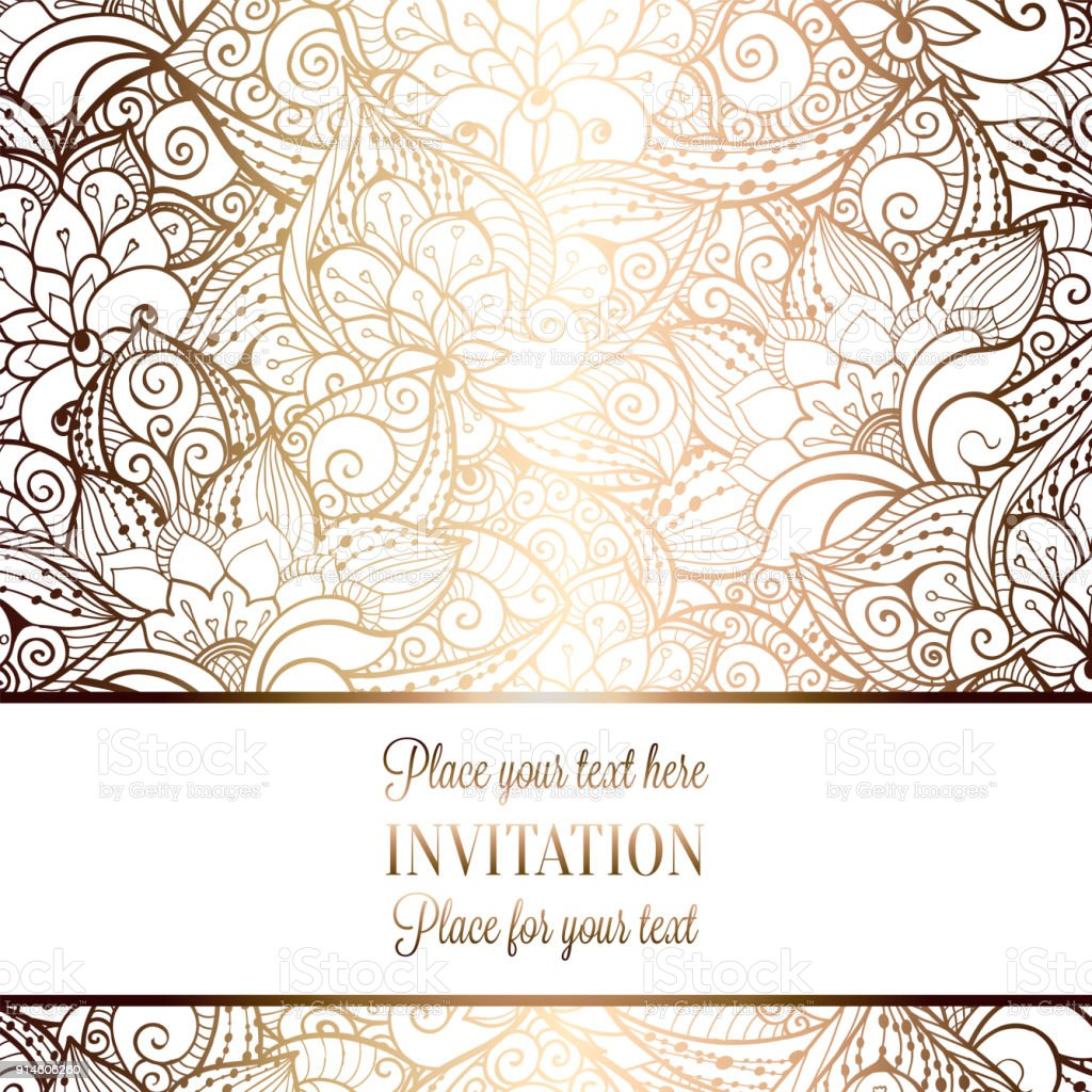 Intricate Baroque Luxury Wedding Invitation Card Rich Gold Decor On ...