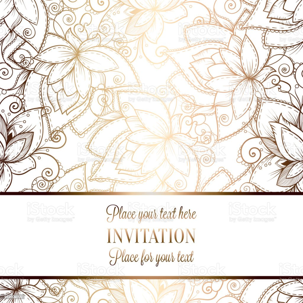 Luxury Wedding Invitations.Intricate Baroque Luxury Wedding Invitation Card Rich Gold Decor On Beige Background With Frame And Place For Text Lacy Foliage With Shiny Gradient