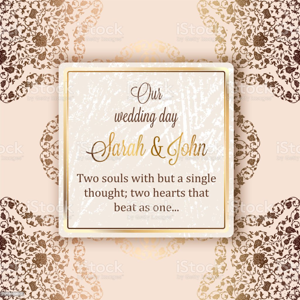 Intricate Baroque Luxury Wedding Invitation Card Rich Gold