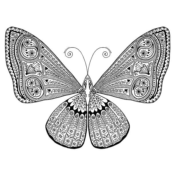 Intricate detailed butterfly adult grown up coloring page. Stress / relaxing. vector art illustration