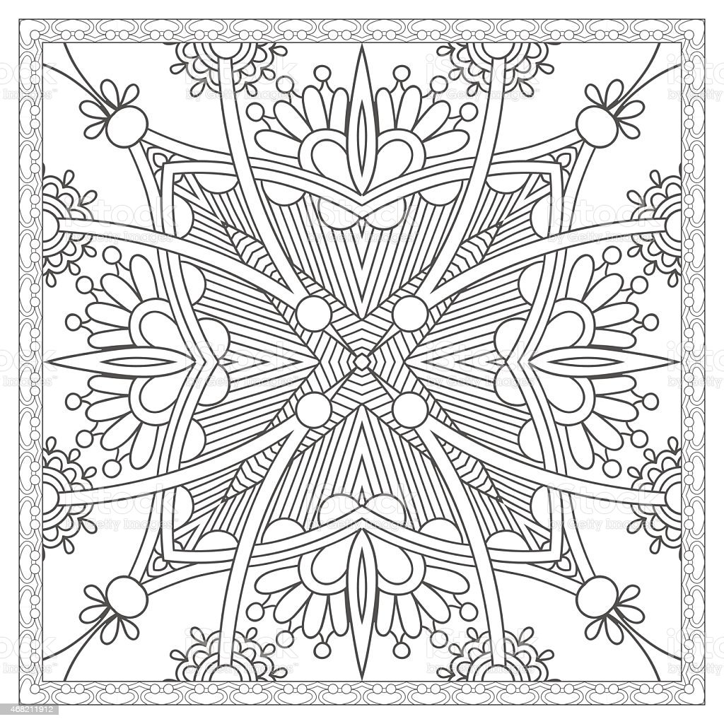 Intricate Floral Adult Coloring Book Page Stock Vector Art More