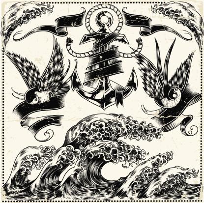 Intricate illustration of nautical symbols