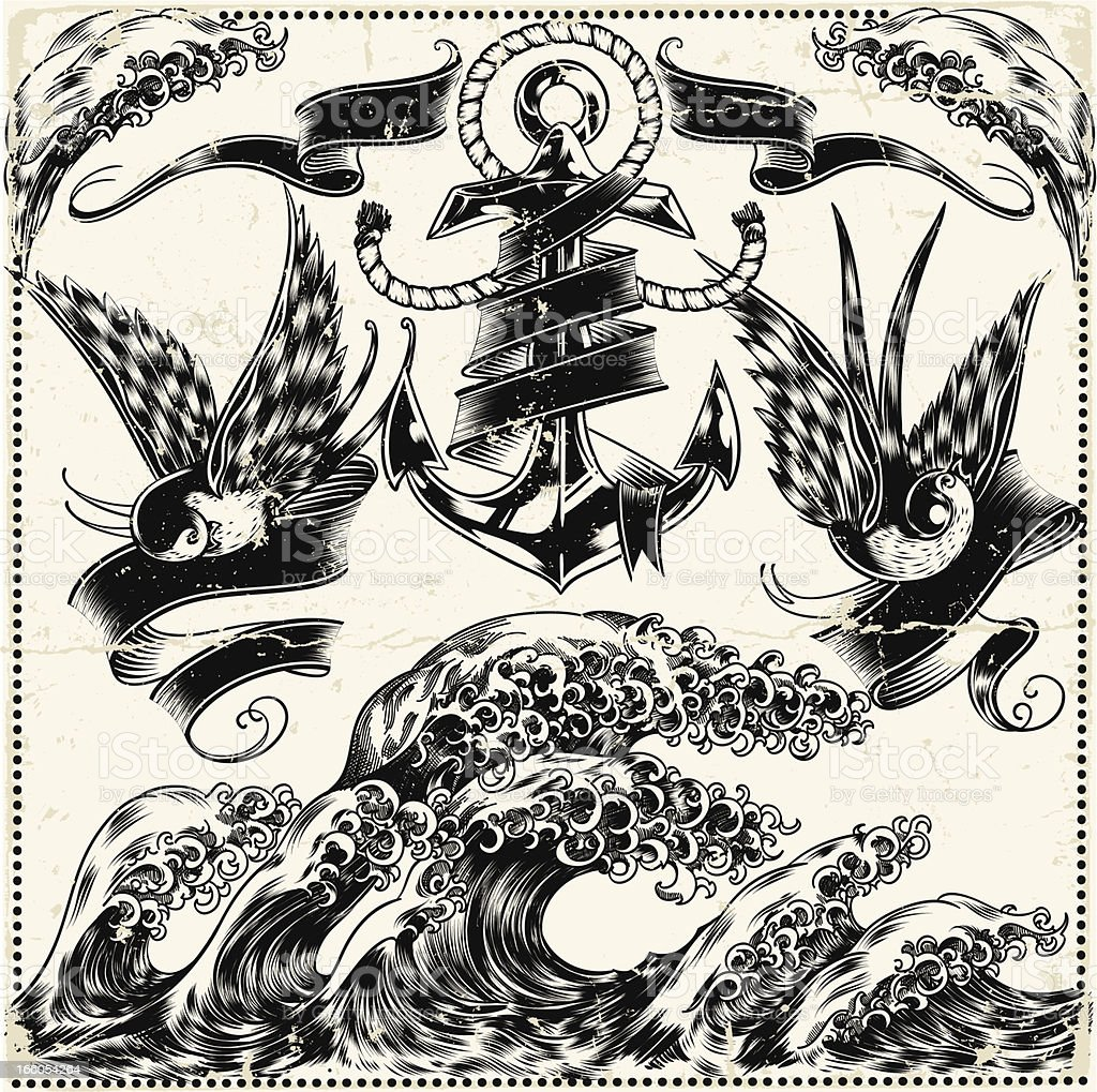 複雑なイラストのマリン風シンボル ベクターアートイラスト