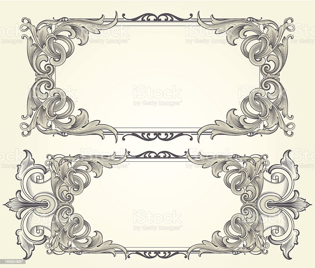 intricate vector engraved frames royalty free stock vector art - Engraved Picture Frame