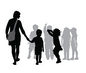 Silhouette vector illustration of a mother and her boy going to the daycare for the first time