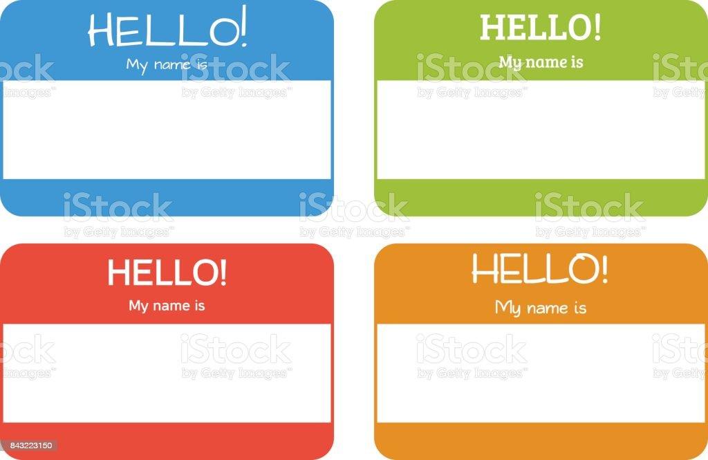 8353db197 Vetor de Placa De Nome Introdução Com A Clássica Frase Olá Meu Nome ...