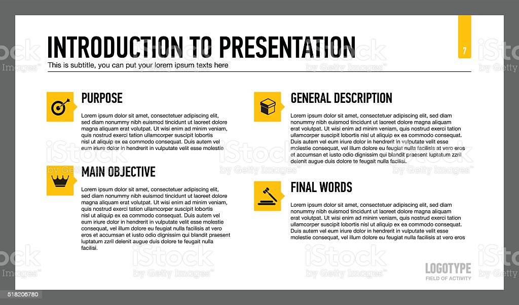 Introduction To Presentation Slide Template Stock Vector Art More