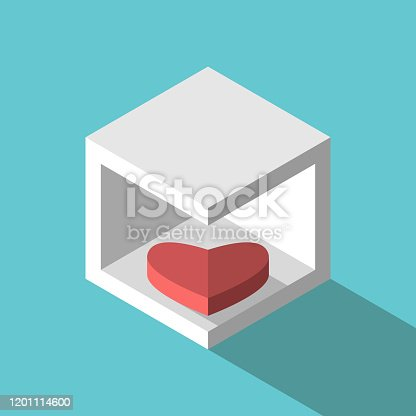 Introvert heart lying in box. Introversion, temper, relationship, love, psychology and fidelity concept. Flat design. EPS 8 vector illustration, no transparency, no gradients