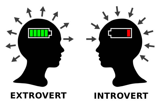 Introvert and extrovert, silhouette head boy or girl Introvert and extrovert, silhouette head boy or girl showing off stock illustrations