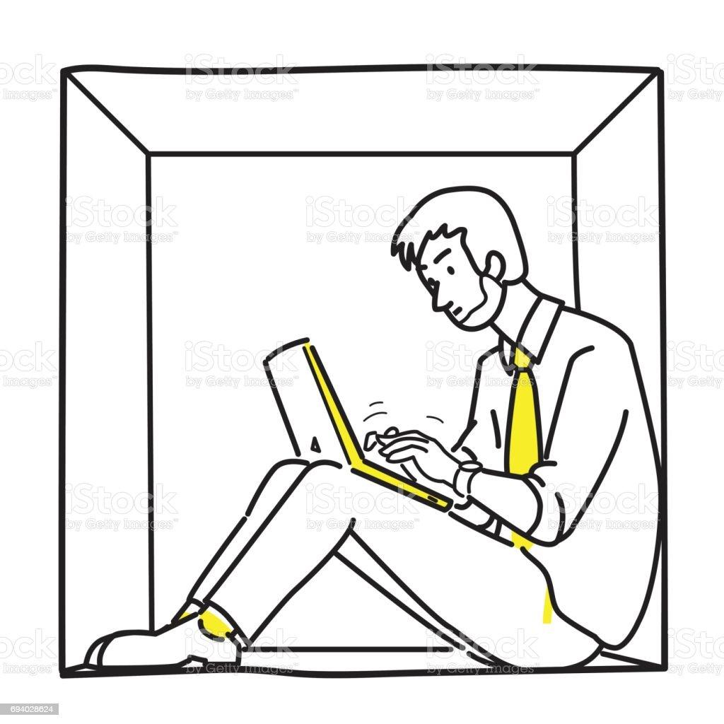 Empresario de introvertido trabajando - ilustración de arte vectorial