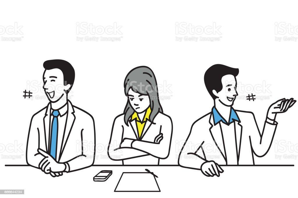 Introvert office worker vector art illustration