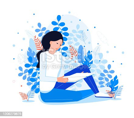 Introvert reads a book. Pretty girl like reading. Fantasy literature world in her mind on a blue floral, leaves background. Literature fan illustration. Introversion vector concept.